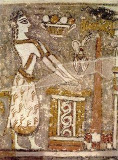Knossos - A priestess at the altar. (detail of the Hagia Triada sarcophagus)