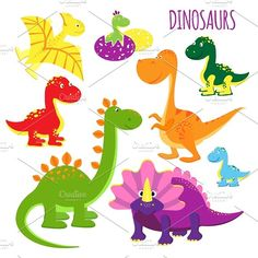 vector icons of baby dinosaurs - Illustrations