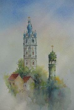 Mons, le beffroi et le campanile de l'Hôtel de Ville, aquarelle, Joseph Mottoul