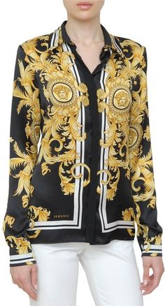 Versace Blouses for Women Blazers For Women, Blouses For Women, Sunday Dress, Versace Fashion, Satin Shirt, Blouse Outfit, Work Looks, Blouse Vintage, Modern Outfits