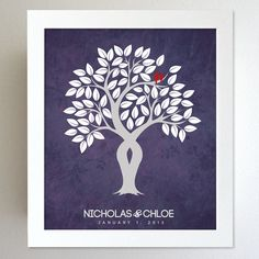 Wedding Anniversary Gift - Housewarming Gift - Family Tree - Custom colors for the home 8x10 Print. $24.00, via Etsy.