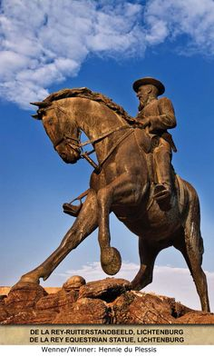De La Rey statue, Lichtenburg ~ dude has the best theme song ever! Best Theme Songs, North West Province, African States, Equestrian Statue, Beaches In The World, Most Beautiful Beaches, My Land, My Heritage, Nature Reserve