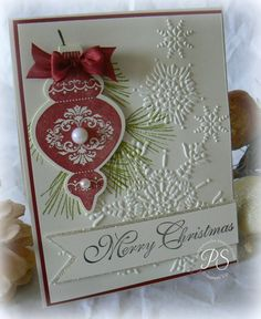 Stampin' Up! Ornament Keepsakes with Stampin' Up! Northern Flurry Big Shot embossing folder. Such a lovely Christmas card!