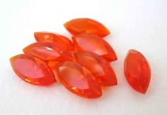 Vintage Rhinestone Jewel Navette Hyacinth Orange