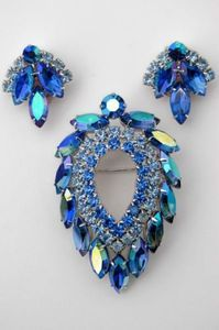 """Sarah Coventry Brooch and earrings, """"Blue Lagoon"""""""