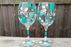 Bride & Groom Wine Glasses 20 oz each Set of 2 couples, wedding, bridal, groom, on Etsy, $24.00