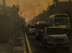 Lower Mall Road,2014,Oil on Canvas,18 by 24 Inches