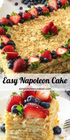 This Easy Napoleon Cake consists of rich custard and puff pastry cake base. You won't believe how quick and easy it is to make!