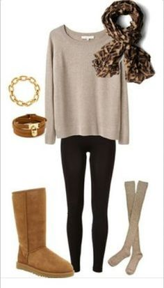 fashion & comfy uggs outfit with chestnut tall ugg boots