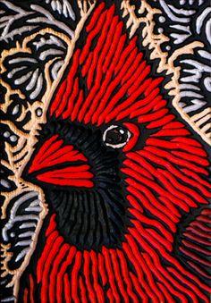 LISA BRAWN  Cardinal 7, Woodcut