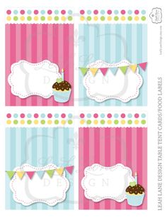 Table Tent - Girls Cupcake Birthday Party Printable by LeahLaneDesign, $6.00