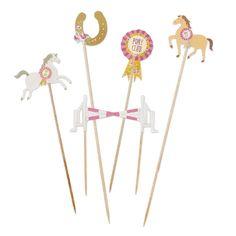 12 GRANDES piques décoration GÂTEAU BUFFET ANNIVERSAIRE FÊTE chevaux poneys