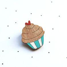 Wooden Laser Cut Cupcake Brooch. $25.00, via Etsy.
