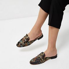Black printed satin backless loafers - flat shoes - shoes / boots - women