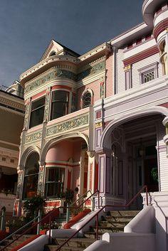 Victorian Era Architecture in San Francisco-gorgeous details and colors! Victorian Architecture, Beautiful Architecture, Beautiful Buildings, Architecture Details, Beautiful Homes, Beautiful Places, Pink Houses, Old Houses, Victorian Style Homes