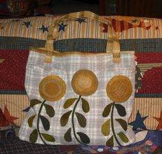Tom Miner Quilts and Folk Art: Sunflower Tote that I made from a Woolrich jumper