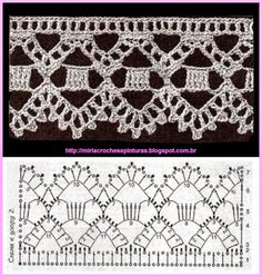 Borte Spitze häkeln - crochet lace border -MIRIA CROCHÊS E PINTURAS: BARRADINHOS DE CROCHÊ N° 605 ❁•Teresa Restegui http://www.pinterest.com/teretegui/•❁