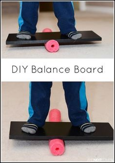 How to make a balance board for kids using a pool noodle from And Next Comes L board DIY Pool Noodle Balance Board Motor Skills Activities, Gross Motor Skills, Indoor Activities, Sensory Activities, Therapy Activities, Learning Activities, Preschool Activities, Autism Sensory, Physical Activities