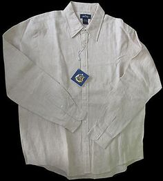 Men's Linen L/S Shirt Allen Solly Light Tan L/XL  New