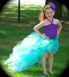 Ariel Mermaid Tutu Dress---up to pre-teen sizes--Free flower clip included. $30.00, via Etsy.
