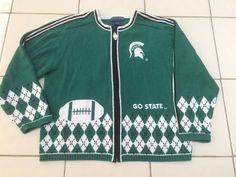 Unique Embroidery Ladies Michigan State Spartans Zip Up Cardigan Sweater Sz Xl #CollegiateEaglesEye #Cardigan