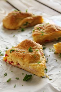 Breakfast pie croissant crust with scrambled eggs and bacon ...mmm