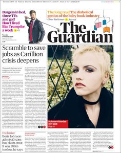 Tuesday's papers focus on the contractor's collapse, which puts thousands of jobs at risk. Newspaper Cover, Newspaper Headlines, Newspaper Design, Dolores O'riordan, Famous Graves, The Guardian, Editorial, Books, Magazines