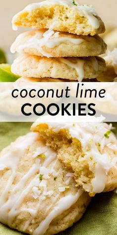 These coconut lime cookies are wonderfully soft with tangy lime glaze on top. They're easy to make and hit the spot when you crave summer! #coconutcookies #lime #summercookies #cookierecipes Summer Desserts, Summer Recipes, Just Desserts, Baking Recipes, Cookie Recipes, Dessert Recipes, Opening A Bakery, Shortbread Bars, Summer Cookies