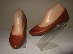47e09fb9d68 Kork Ease Violette Brown Studded Leather Ballet Flats Shoes Womens Sz.8.5  Cute!