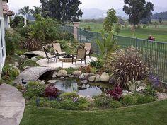 Patio Design Ideas Pictures - Outdoor Design : Home Design . Small Backyard Gardens, Small Backyard Design, Ponds Backyard, Backyard Patio, Backyard Designs, Nice Backyard, Backyard Canopy, Backyard Plants, Fire Pit Landscaping