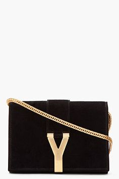 Saint Laurent Black Suede And Gold Logo Purse for women | SSENSE