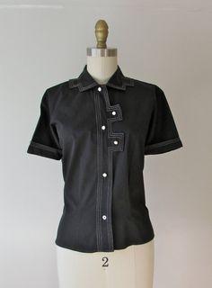 vintage 1950s black cotton blouse white accent stitching