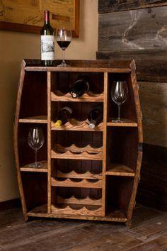 Wine Barrel Bottle Cabinet by alpinewinedesign on Etsy Corner Wine Cabinet, Furniture Makeover, Diy Furniture, Bar Outdoor, Wine Rack Design, Wine Barrel Furniture, Mini Bars, Diy Casa, Wine Decor