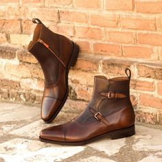 Custom Made Goodyear Welted Octavian Boot in Medium Brown and Dark Brown Painted Calf Leather Men's Shoes, Shoe Boots, Dress Shoes, Men Boots, Calf Leather, Brown Leather, Jersey Oversize, Custom Made Shoes, Buckle Boots