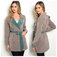 New  Cute Spy Coat Made in the USA Just in! Hey guys! Thanks for stopping by. This show stopping jacket is made in the USA. Comes in Small, Medium and Large. Fabric content is 100% polyester. Color is Taupe and Teal. Its made out of a nice lightweight material. Thanks again guys! Have a great day! ~Namaste Naturally Spiritual Boutique Jackets & Coats Trench Coats