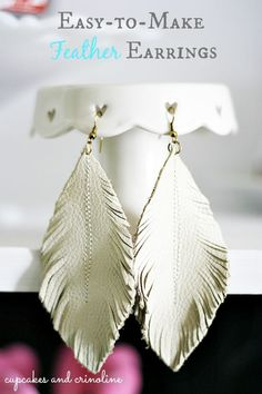 DIY feather earrings from leather scraps from Cupcakes and Crinoline. Click to view full tutorial. Great DIY gift idea!