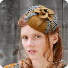 Golden Fascinator Hat Pillbox Hat Mini Hat by GreenTrunkDesigns, $115.00