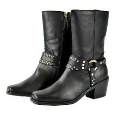 Black, Size 4 Milwaukee Leather Boys Youth Classic Harness Biker Boots