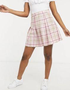 New Look mini pleated tennis skirt in pastel pink check | ASOS Pleated Tennis Skirt, Saved Items, Pastel Pink, Asos, Mini Skirts, Shopping, Design, Fit, Check