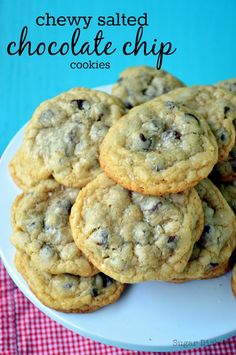 Chewy Salted Chocolate Chip Cookies - Sugar Dish Me