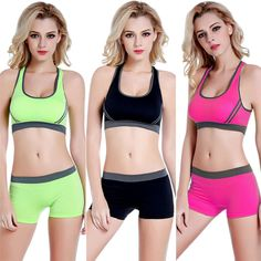 2017 kadınlar spor tank top yelek breathabele dikişsiz spor sutyen ve streç külot için koşu spor gym egzersiz yoga setleri Crop Top Bra, Stretch Gym, Stretch Shorts, Workout Fitness, Gym Workouts, Yoga Fitness, Racerback Sports Bra, Women's Sports Bras, Sport Shorts