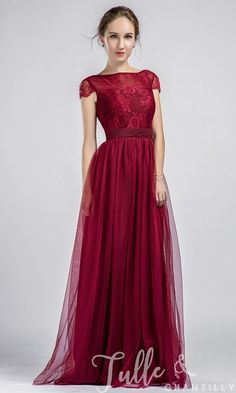 Long Cap Sleeves Lace and Tulle Bridesmaid Dress With Low V Back TBQP349 click for 40+ colors