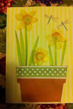 Birthday card made with Cricut   A Walk in my Garden cartridge.