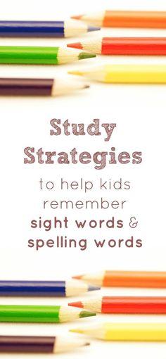 Study Strategies to help kids remember sight words and spelling words. Homework help.