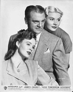 """James Cagney, Barbara Payton, Helena Carter in """"Kiss Tomorrow Goodbye"""". Hollywood Icons, Classic Hollywood, Scottsboro Boys, Real Cinema, Helena Carter, Gangster Films, James Cagney, Young Old, Star Wars"""