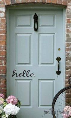 I love this Hello Decal Vinyl Decal for your Front Door. Front Door Colors, Front Door Decor, Front Porch, Front Doors, Front Deck, Front Entry, Vinyl Decals, Wall Decals, Decals For Walls