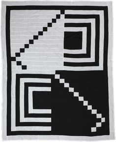 Gee's Bend mod black and white graphic quilt
