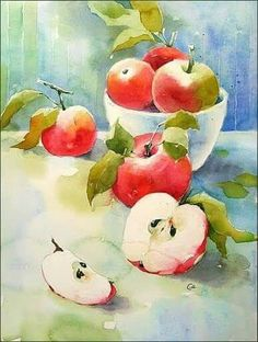 Watercolour Apples