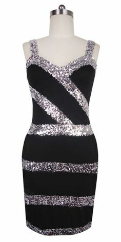 Lines of brilliant metallic silver sequin fabric encircle and cross black stretch fabric on this beautiful short party dress. Choose a different top style to suit you perfectly from the option below, if you like. This amazing value dress also features FREE Express Shipping and our exclusive COMFORT SEWING to minimize contact between sequins and your skin. Order either a standard size or your custom size! http://www.sequinqueen.com/product.php?productid=4165=91=1