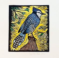 Steller's Jay. Hand painted linocut.  #watercolor #printmaking #blockprinting…